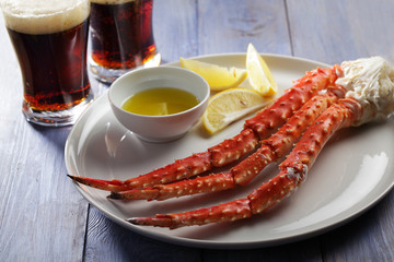 Red king crab legs and beer
