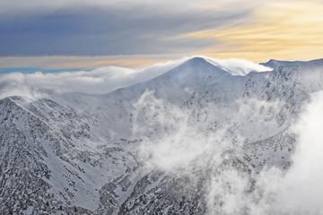Sun and clouds atop of Kasprowy Wierch in Zakopane on Tatras in