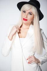 Pretty blond girl with cute modern headwear
