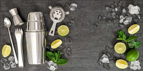 Bar accessories. Ingredients cocktail drink lime, mint, ice
