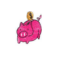 Piggy bank pig stamp