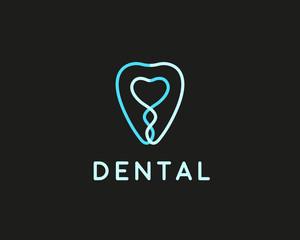 Dentist logo design template. Tooth creative line symbol. Dental clinic vector sign mark icon.