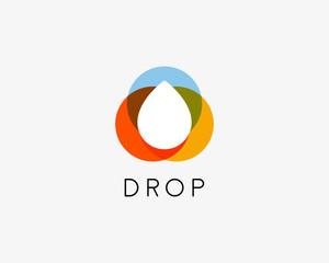 Color liquid water aqua oil drop abstract vector logo design template. Waterdrop creative  logotype.