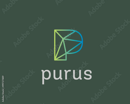 abstract trend letter p logo design template colorful structure creative line t shirt sign