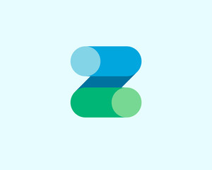 Abstract letter Z logo design template. Colorful modern creative sign. Universal vector icon. Fresh tube sector logotype symbol