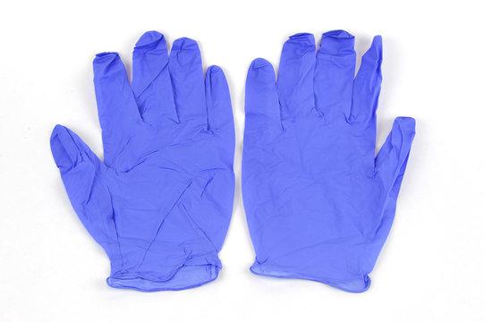 latex gloves on white background