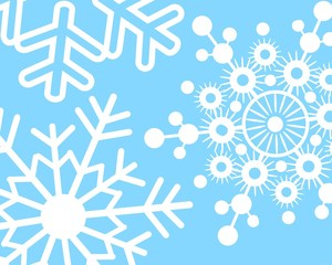 Winter Snowflakes on Light Blue Background