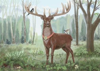 Proud deer standing in the woods, on his horns birds appliances picturesque, watercolor