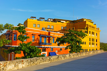 Colorful houses in Cartagena Walled City. Residential houses under the afternoon sun the Cartagena, Colombia.