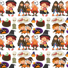 Seamless children in halloween costume