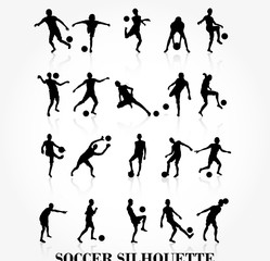Soccer player silhouette collection