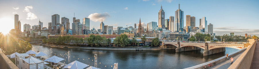 Poster Australia Melbourne cityscape with panorama view.