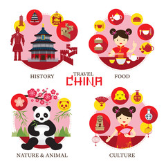 Travel China Concept Label, History, Food, Culture, Nature, Animal, Travel