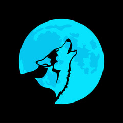Wolf on the background of the blue moon