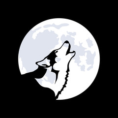 Wolf on the background of the moon