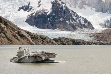 ice floe on glacial lake in Patagonia