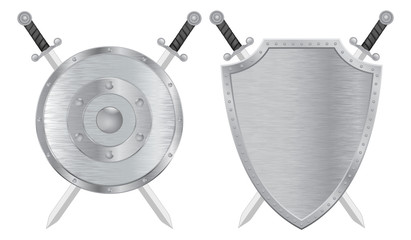 Swords and shield. Metal brushed medieval shield.