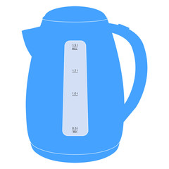 Electric kettle. Blue icon.