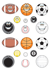 Sport balls illustrated in two versions, simple realistic and cartoon style