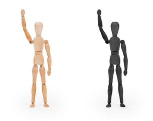 Wood figure mannequin - black and white