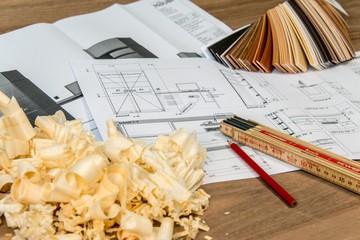 Architekten und Schreiner am planen
