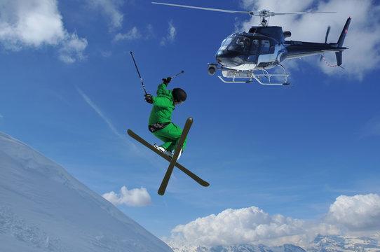 helicopter filming ski jumper