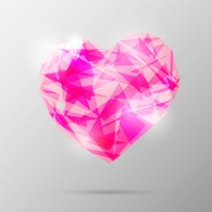 Future geometric heart. Abstract template. Vector illustration.