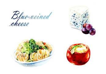 Blue-veined cheese. Food backdrop. Watercolor hand drawn illustration.