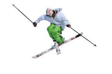 jumping skier in a cross