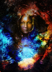 Goodnes woman and lion  and bird in space with galaxi and stars. profile portrait, eye contact.