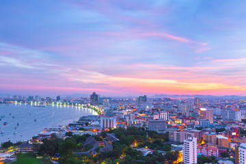The building and skyscrapers in twilight time in Pattaya,Thailan