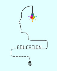 Education concept with colorful lightbulb, human  profile line and dash line wire. Vector illustration.