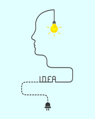 Idea and intelligence concept with shining lightbulb, human  face line and dash line wire