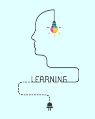 Creative learning concept with lightbulb made of puzzle and human profile line
