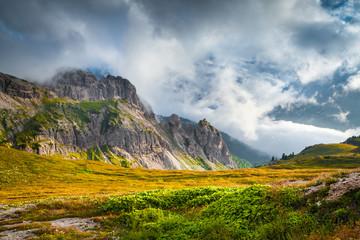 Foggy summer scene in the National Park Tre Cime De Lavaredo