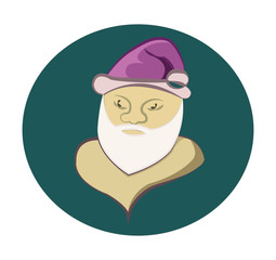 Santa Claus colorful round icon. Old man with White Beard in Purple Cap. Digital background vector illustration.