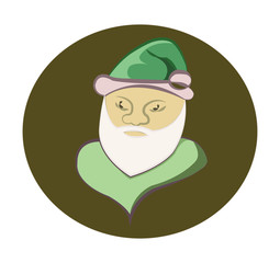 Santa Claus colorful round icon. Old man with White Beard in Green Cap. Digital background vector illustration.
