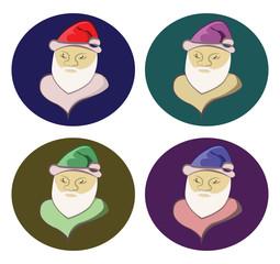 Santa Claus round icons set