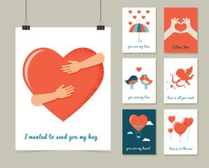Valentine's day greeting cards set