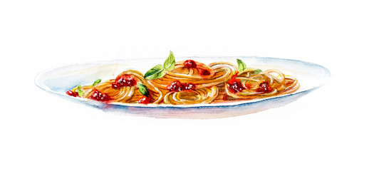 Spaghetti. Food backdrop. Watercolor hand drawn illustration.