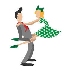 Couple dancing rocknroll cartoon illustration