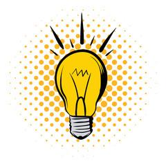 Shining light bulb comics icon