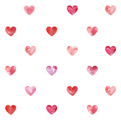 Seamless texture with fanny watercolor hearts