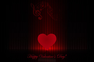 Heart on the stage - Valentine's Day greeting card design