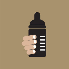 Nursing Bottle Vector Illustration.