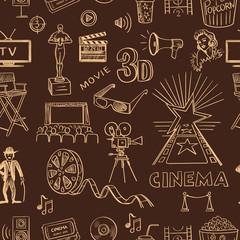 Hand drawn cinema pattern