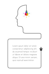 Bubble template with creative thinking and learning concept. Colorful lightbulb and human profile line made of  wire.