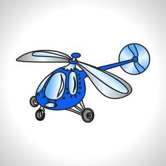 children illustration technique blue helicopter