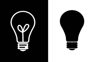bulb light icon illustration symbol design lamp background white back