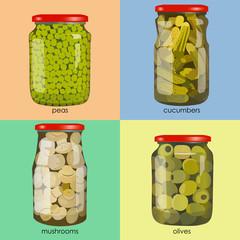 pickles set in jars. Pickled realistic vegetables. Peas, mushrooms, olives, cucumbers. Colorful Vector illustration.